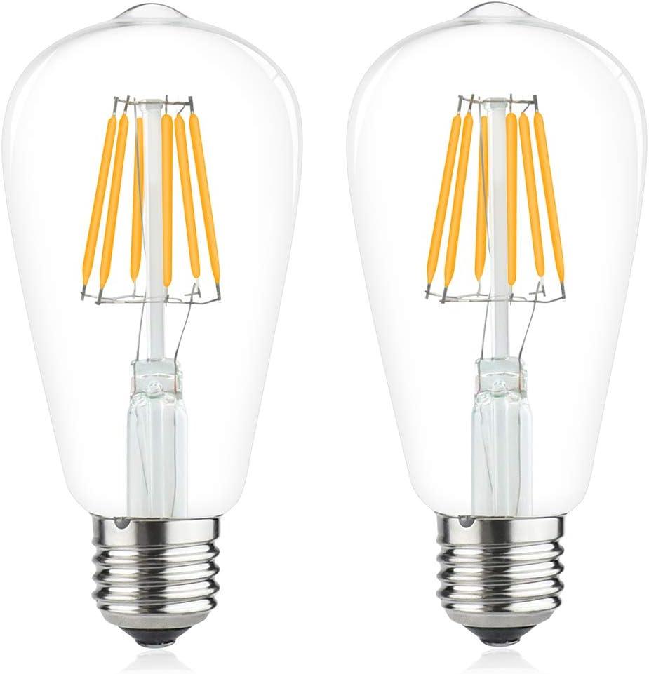 Bombilla LED E27 12V-24V AC/DC 6W luz fría 6000K Lámpara LED ES Vintage ST64 de filamento 12V 6W Equivalentes a 60W Halógena para Camping, Barco y Fotoboltaico Solar (2 unidades)
