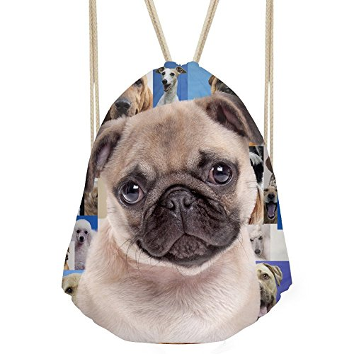 Showudesigns Pug Dog Design Children Drawstring Cinch Gym Bag for Camping Hiking from Showudesigns