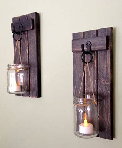 """Rustic Wooden Candle Holder, Mason Jar Candle Wall Sconce, Set Of Two, 12""""x5"""",in Weathered Black!"""