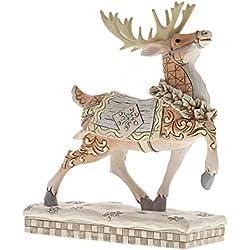Enesco 6001412 White Woodland Reindeer Prance, Multicolor