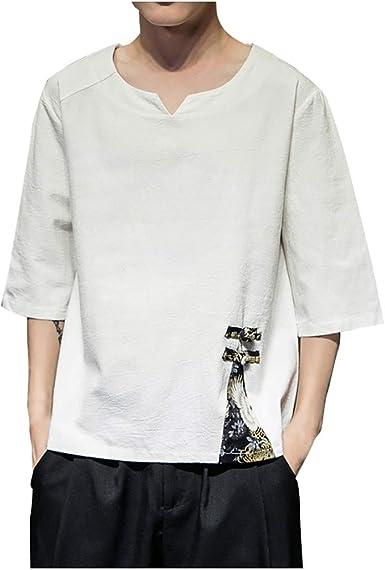Camisetas Hombre Manga Corta La Camisa Basicas Algodon Blusa 2019 Verano Nuevo Tops Deportivas Gym Running Polo T-Shirt ZOELOVE Lino de algodón para Hombre y Lino Suelto Retro Manga Corta: Amazon.es: Ropa