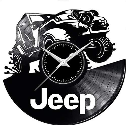 Fusorario Orologio in Vinile da Parete LP 33 Giri Silenzioso Idea Regalo A Tema jeep