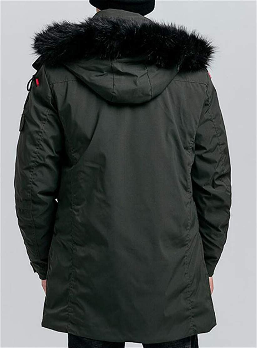 X-Future Mens Warm Faux Fur Hooded Quilted Stand Collar Long Down Jacket