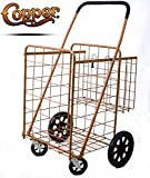 Premium Jumbo Size Folding Shopping Cart with Double Baskets 150 lb Capacity, w/Spinning Wheels, Grocery Shopping Made Easy Utility Cart 3 Colors (Copper) - Hot Copper & Metal Wheels