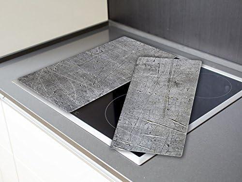 Herdabdeckplatten, Schneidebrett aus Glas, Beton Optik HA211305274 Variante 2er Set (2 Panels)