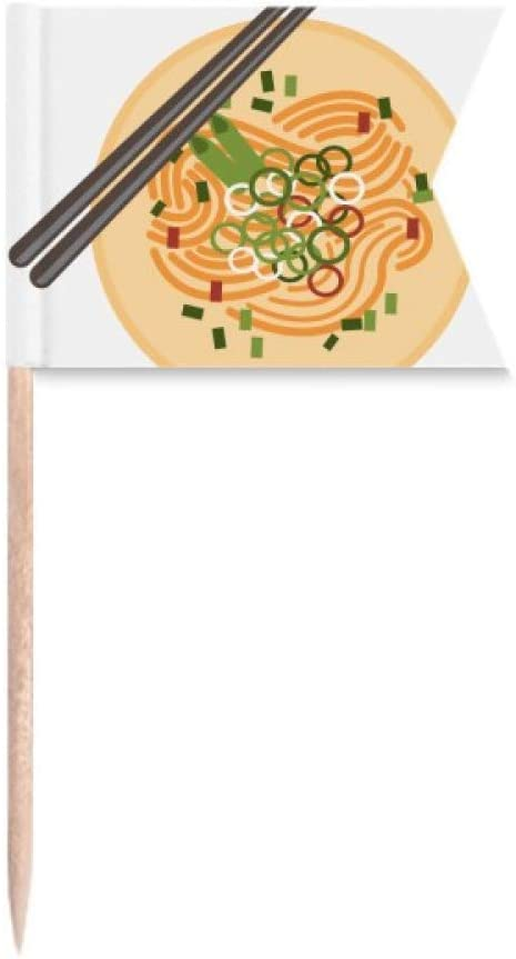 Chinese Dish Noodle Delicious Food Pattern Toothpick Flags Labeling Marking for Party Cake Food Cheeseplate