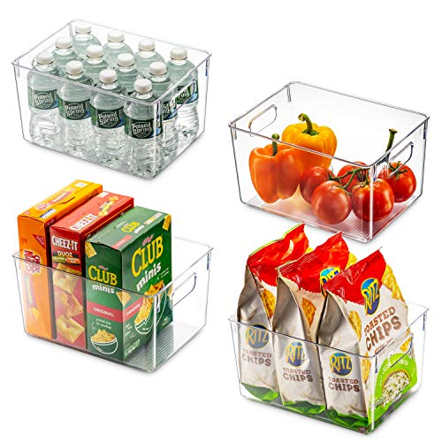 Set Of 4 Clear Pantry Organizer Bins Household Plastic Food Storage Basket with Cutout Handles for Kitchen, Countertops…