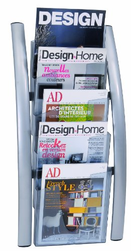 Alba 5 Pocket Wall Literature Rack, Metallic Silver (DDICE5M)