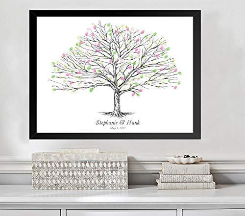 Guestbook Tree, Elm Tree Thumbprint Wedding Guest Book Alternative (Guestbook Sizes: 13