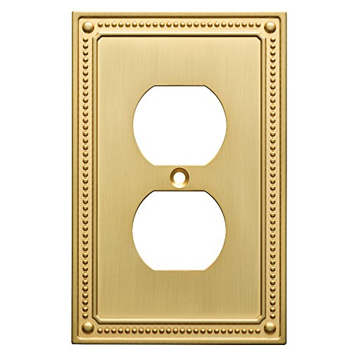 Brass Cover (Franklin Brass W35059-BB-C Classic Beaded Single Duplex Wall Plate/Switch Plate/Cover, Brushed Brass)