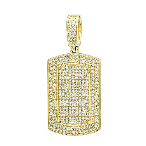 Men's 10K Gold Small Iced Out Diamond Dog Tag Pendant 0.9ctw (Yellow Gold)