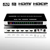 HDMI Switch Audio Extractor 4K x 2K 5x1 Support HDMI/MHL with Wireless Remote Control Splitter Switcher