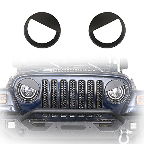 Tj Jeep 2002 (u-Box Black Front Headlight Cover Trim Angry Bird Eyes Style ABS Bolt-on Bezels for 1997-2006 Jeep Wrangler TJ & Wrangler Unlimited)