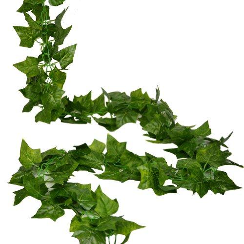 RURALITY 16 Ft - 2 Artificial Ivy Silk Greenery Fake Hanging Vines Wedding Garland ,Sweet Potato Leaves, Pack of (Leaf Garland)