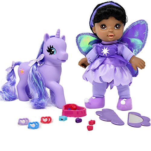 """Search : Adorable 8"""" Fairy Doll African American With Purple Unicorn Pony, My Little Pony Wonder Land Set Comes with Mirror, Comb, clips, bead and more Accessories for Pony's and Doll's Hair"""