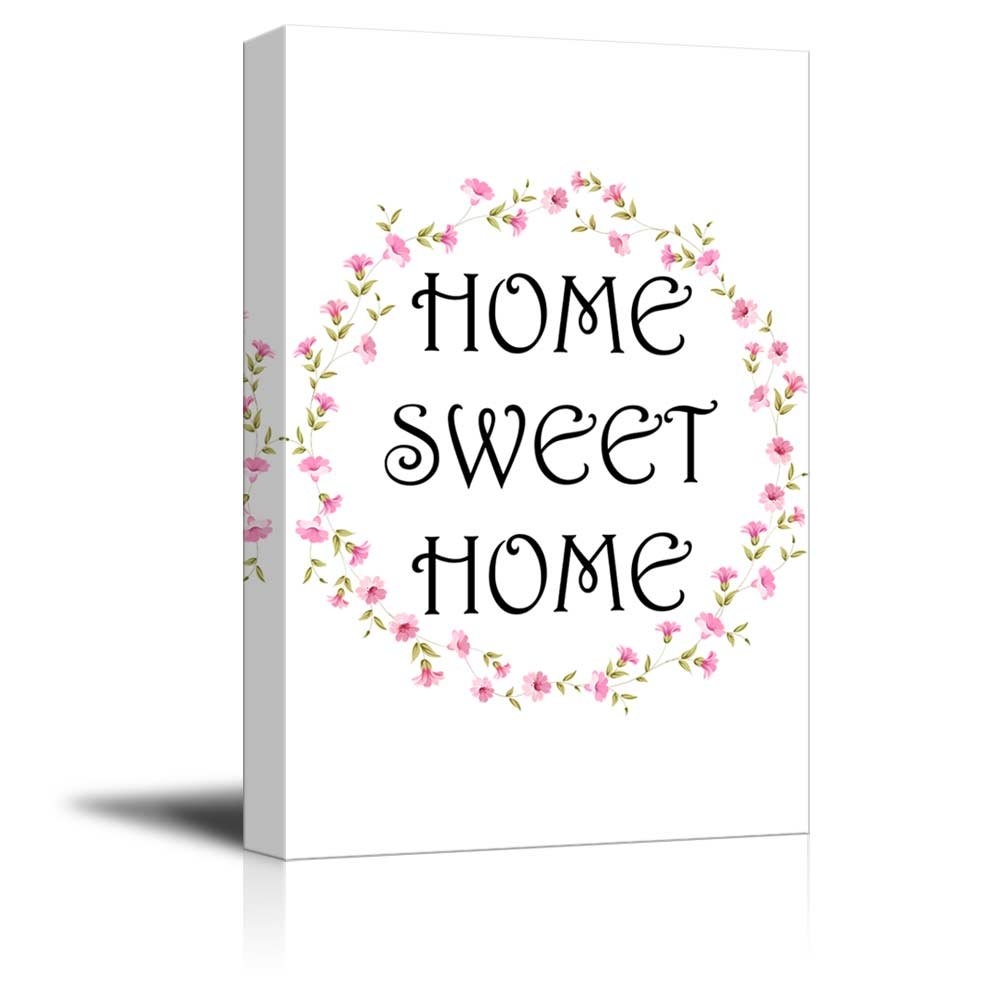 Print Art Home Sweet Home Wall Decor With Floral Ring Quotes Ation