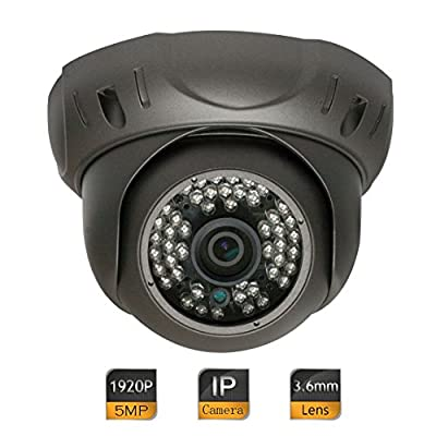 GW Security 5 Megapixel (2592 x 1920) Super HD 1920P High Resolution Network PoE Power Over Ethernet Security Dome IP Camera with 3.6mm Wide Angle Len (Grey) from GW Security Inc