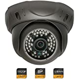 GW Security 5 Megapixel (2592 x 1920) Super HD 1920P High Resolution Network PoE Power Over Ethernet Security Dome IP Camera with 3.6mm Wide Angle Len (Grey)