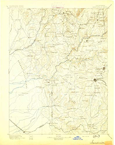 YellowMaps Smartsville CA topo map, 1:125000 Scale, 30 X 30 Minute, Historical, 1895, Updated 1895, 20.1 x 15.9 in - Tyvek ()