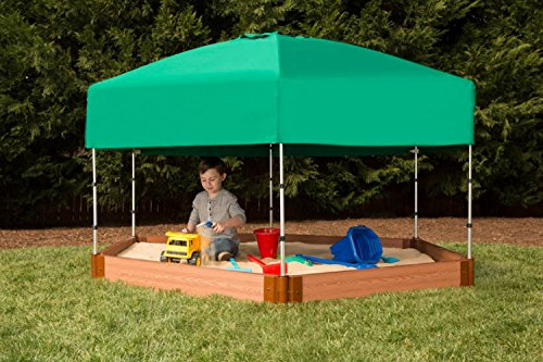 h Series Composite Hexagon Sandbox Kit with Canopy/Cover, 7' x 8' x 5.5
