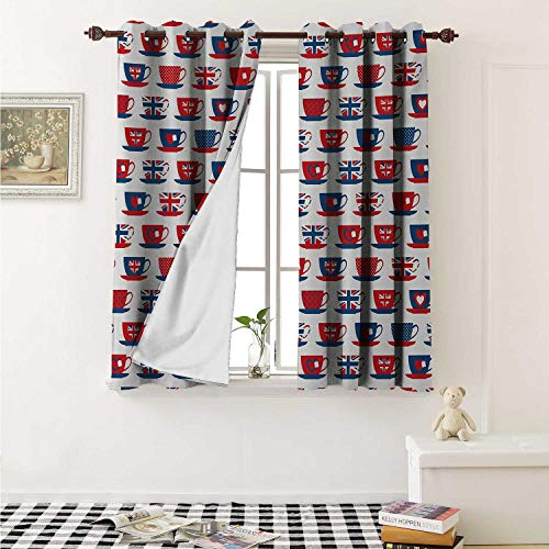 - shenglv Tea Party Waterproof Window Curtain Great Britain Themed Teacup Forms Patterned Union Jack Hearts Flags Curtains for Party Decoration W84 x L72 Inch Vermilion Night Blue