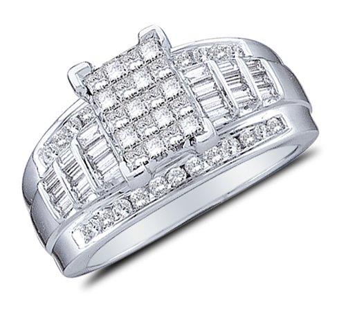 10K White Gold Large Diamond C