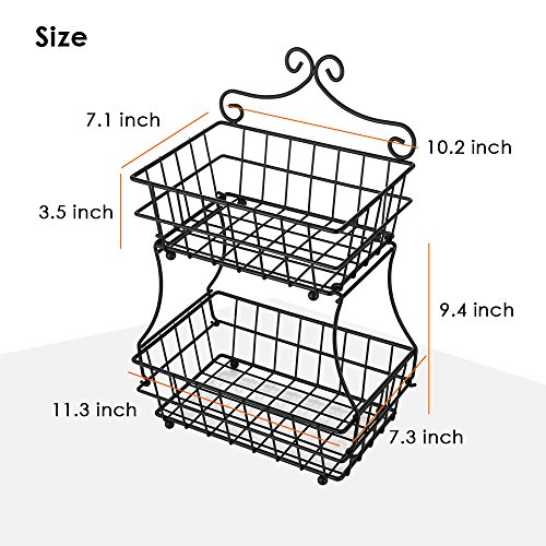 Oakome 2 Tier Fruit Baskets - Metal Bread Basket Stand with Free Screws for Fruit, Vegetables, Snacks, Home Kitchen and Office by oakome (Image #4)