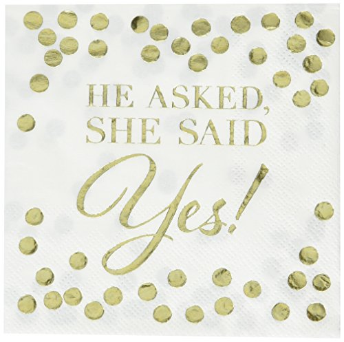 He Asked, She Said Yes Hot Stamped Beverage Napkins   Wedding and Engagement Party ()