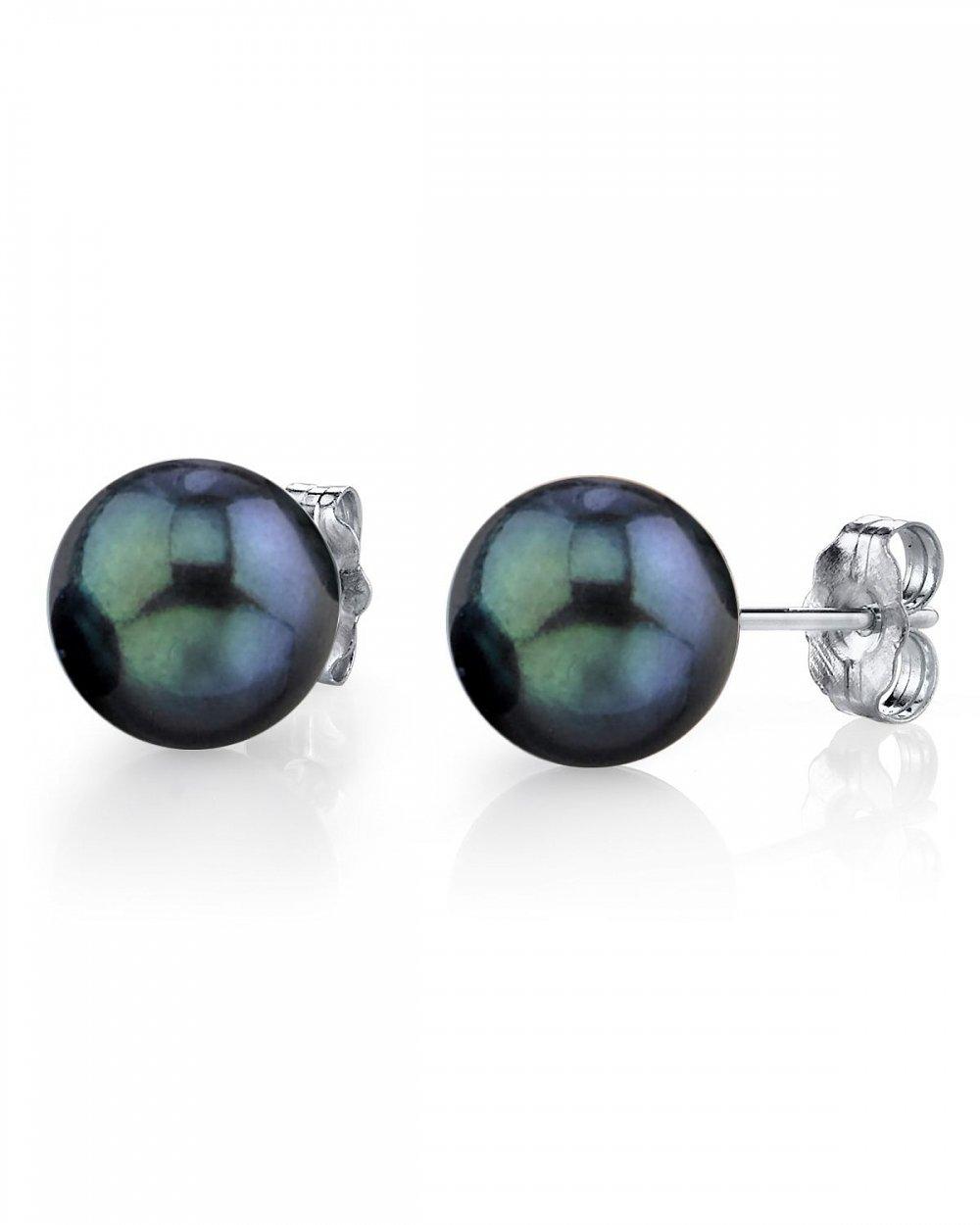 14K Gold 7.5-8.0mm Black Akoya Cultured Pearl Stud Earrings - AA+ Quality