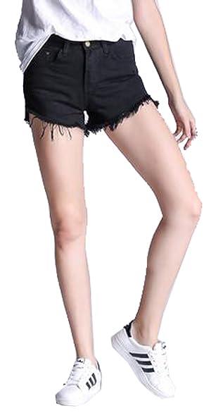 NQ Womens Solid Cutoffs Tassels Pockets Denim Shorts S Black