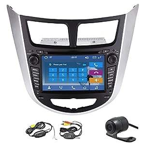 En Dash est¨¦reo del coche para Hyundai Rena (2010-2015) reproductor de DVD GPS radio de la navegaci¨®n de 7 pulgadas de pantalla t¨¢ctil R¨¢PIDO 800 MHz CPU conexi¨®n USB AM / FM RDS iPod Bluetooth + Free 4BG SD Mapa + c¨¢mara trasera Wireless