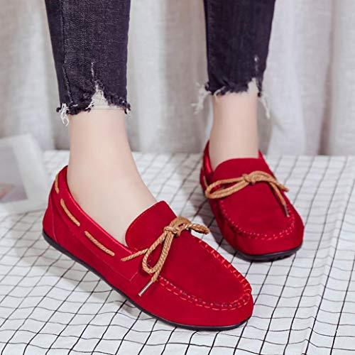 Qinmm L'automne Confortables Plates Casual Merceditas Mocassins Rouge Femmes t Chaussures Pour AwqxC4X
