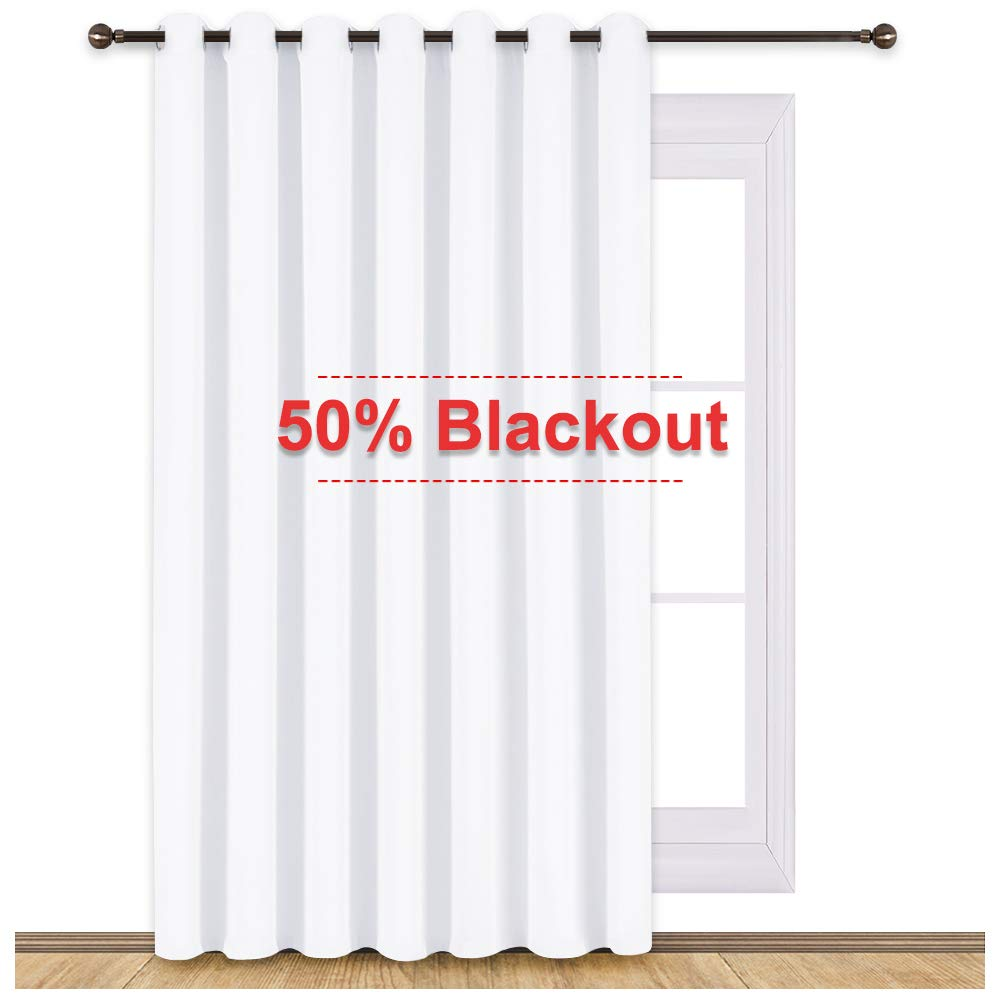 NICETOWN Sliding Door Curtains for Patio, Wide Width Drape, Vertical Curtains for Patio Door (White, Width 100'', Length 95'')