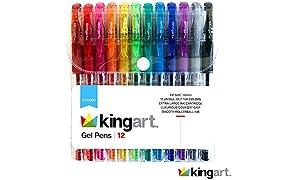 KINGART 400-12 Glitter 12 Pack with 50% More Ink & Soft Artists Soft Grip Gel Pen Set, Set of 12, Vivid Colors