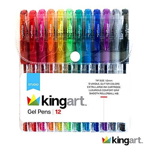 KINGART 400-12 Glitter 12 Pack with 50% More Ink Artists Soft Grip Gel Pen Set, Set of 12, Vivid Colors