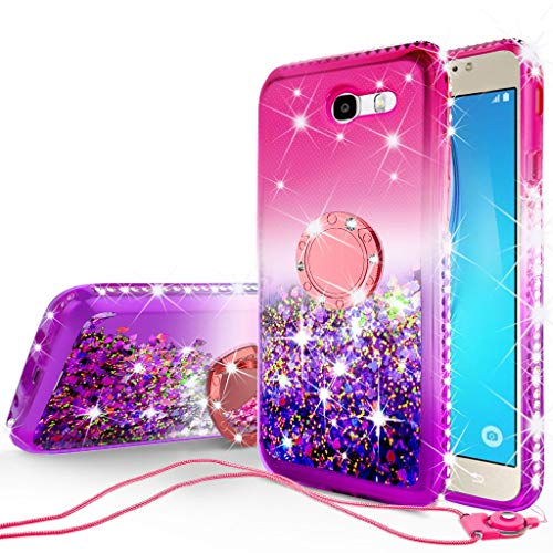 GW USA Compatible for Glitter Cute Phone Case Kickstand for Galaxy J7v/J7 (2017)/J7 Perx/J7 Sky Pro/Halo/J7 Prime Case, Bling Diamond Cover Ring Stand Sparkly Clear Protective Girls Women, Hot Pink