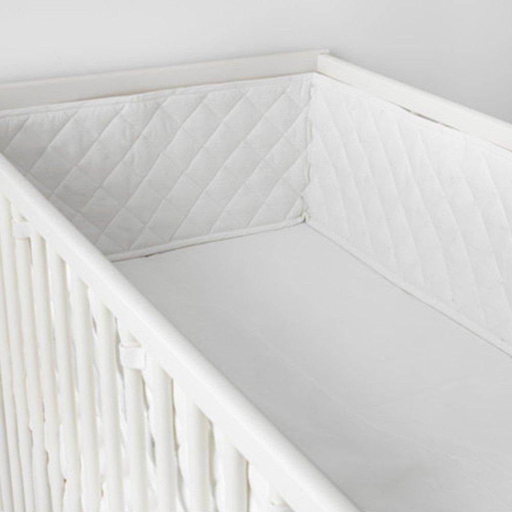 Cotton Crib Bumper Soft Crib Liner White for 52 X 28Inch (L x W) Crib