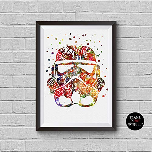 Stormtrooper Watercolor Print Star Wars Movie Print Minimalist Stormtrooper Helmet Poster Artwork Wall Art Home Decor Wall Hanging ()