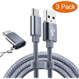 USB Type C Cable OULUOQI USB C Cable 3 Pack(6ft) Nylon Braided Fast Charger Cord(USB 2.0) Samsung Galaxy S9 Note 8 S8 Plus,LG V30 G6 G5 V20,Google Pixel, Moto Z2, Nintendo Switch, MacBook(Grey)