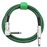 Dilwe 3 Meters Guitar Cable, 6.35mm Right Angle to 6.35mm Straight Plug Musical Audio Cable Cord for Electric Guitar(Green)