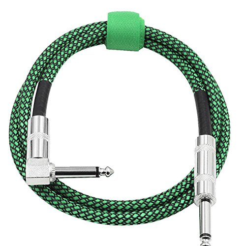 Dilwe 3 Meters Guitar Cable, 6.35mm Right Angle to 6.35mm Straight Plug Musical Audio Cable Cord for Electric Guitar(Green) by Dilwe
