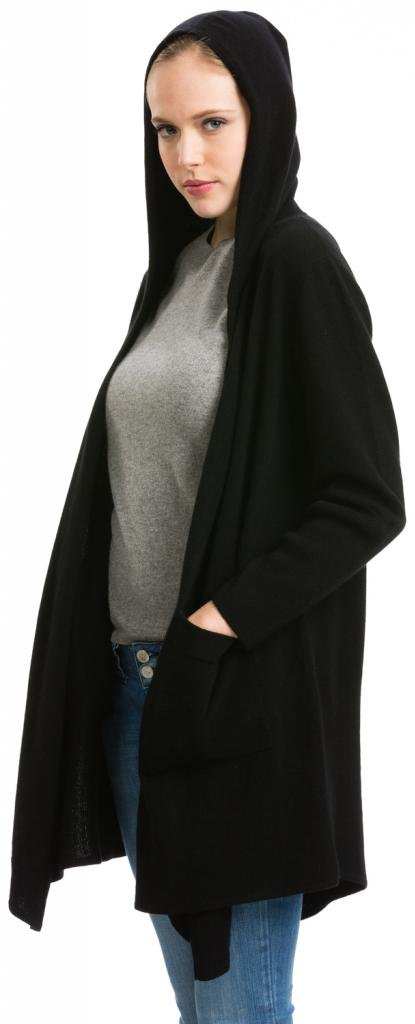 Long Cardigan with Hood - 100% Cashmere - Citizen Cashmere Black XL 41 136-02-01