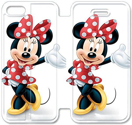 Flip étui en cuir PU Stand pour Coque iPhone 5 5S, bricolage 5 5S Cas de téléphone portable Disney Mickey Mouse Minnie Mouse 8 C3F4XE Coque iPhone étuis en cuir façon personnalisée