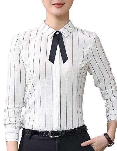 剃る抽象ジャニス激情女郎 ワイシャツ レディース ブラウス 長袖シャツ オフィス ストライプ