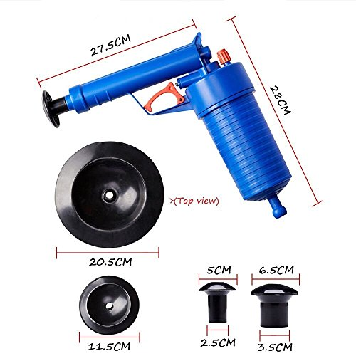 Air Pressure Drain Pump Pipe Dredge Tools, Air Power Drain Blaster, High Pressure Drain Opener for Toilet Bathroom, Suite for Dredging Home Toilet Bathtub Sink with 4 Suckers#5111(Blue)