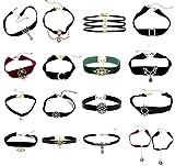 Women's Girls Elegant Velvet Ribbon Choker Collar Pendant Necklace