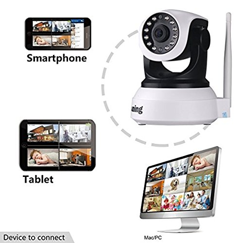 Security Cameras Wifi Wireless 720P HD (Day/Night Vision,baby monitor,2 Way Audio,SD Card Slot, Alarm) by JUNING