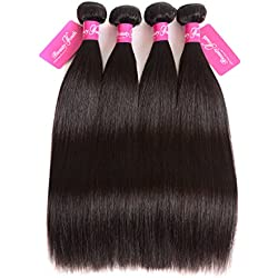 Beauty youth Brazilian Straight Virgin Hair 3 Bundles Brazilian Straight Hair Bundles With Closure 7A Unprocessed Virgin Hair Human Hair Weaves (8inch 1pc)