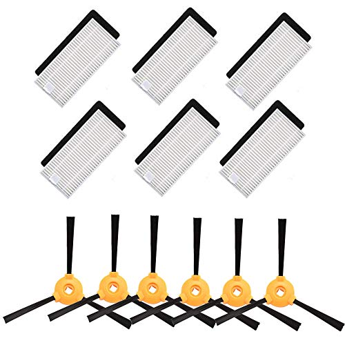 BBT BAMBOOST Accessories Replacement Parts Fit for EcoVacs Deebot 500, Deebot 600, Deebot 601 Robotic Vacuums - 6 Filters & 6 Side Brushes (Not fit for OZMO 601)