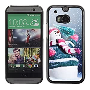YOYO Slim PC / Aluminium Case Cover Armor Shell Portection //Christmas Holiday Happy Snowman 1154 //HTC One M8